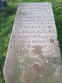 St Mary Whitby Yorkshire; Note how the date and age of Elizabeth have not been finished: